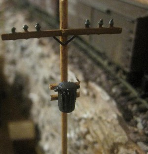 Telephone poles on model RR layout